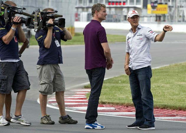 BBC's David Coulthard with Michael Schumacher
