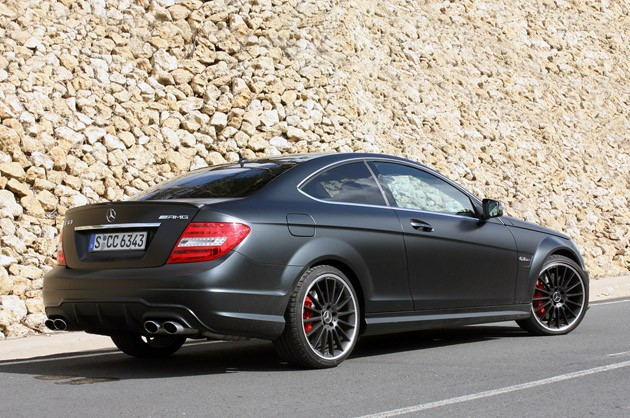 2012 Mercedes-Benz C63 AMG Coupe rear 3/4 view