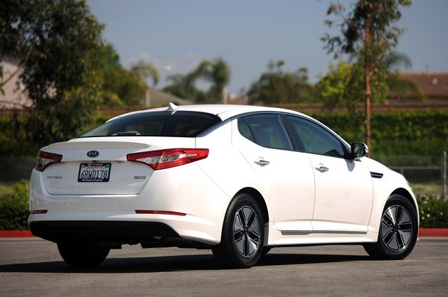 2011 Kia Optima Hybrid rear 3/4 view