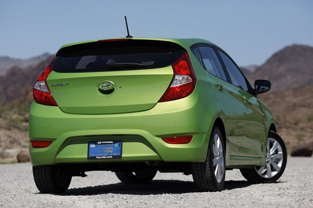 2012 Hyundai Accent Five-Door rear 3/4 view