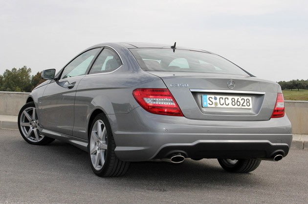 2012 Mercedes C-Class Coupe rear 3/4 view