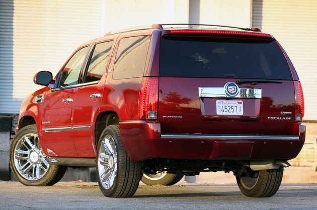 2011 Cadillac Escalade Hybrid Platinum rear 3/4 view