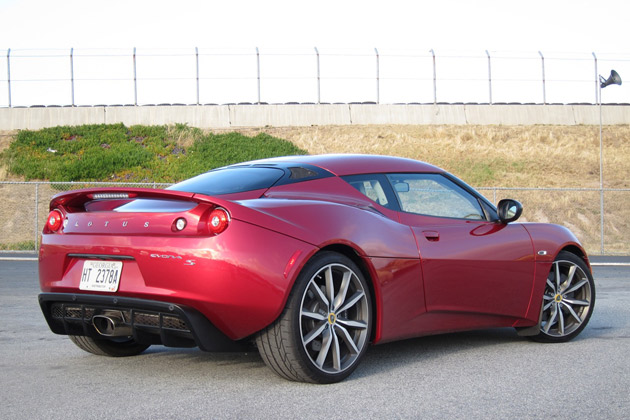 2011 Lotus Evora S rear 3/4 view
