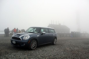 mini cooper at the top of mt washington