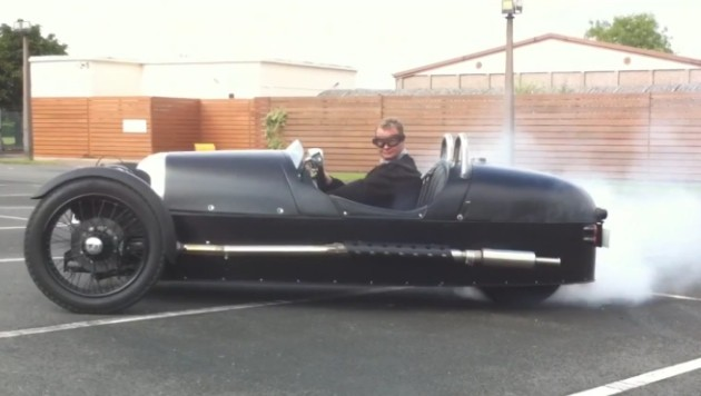 Morgan Threewheeler does donuts and a burnout