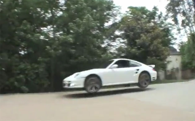 Porsche 911 Turbo on a driveway race track