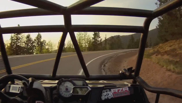 doug siddens driving his rzr up pikes peak