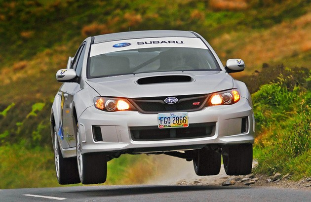 subaru wrx sti sedan breaking the car lap record at the isle of man tt