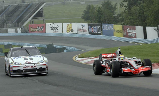 Tony Stewart and Lewis Hamilton at Watkins Glen