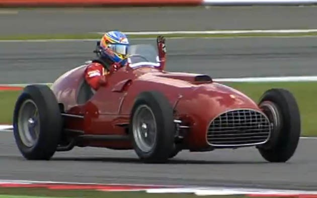 Fernando Alonso in the 1951 Ferrari 375 at Silverstone