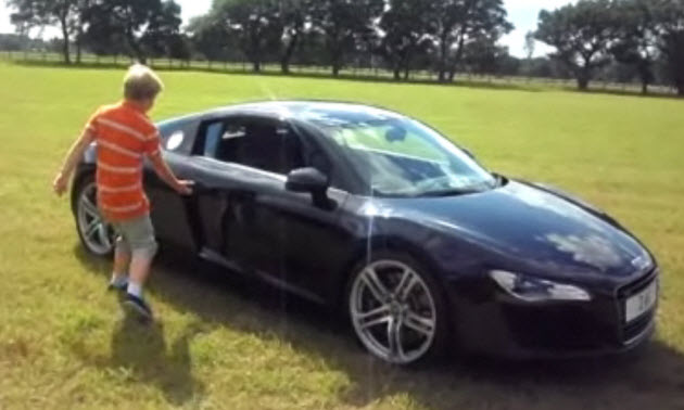 11-year-old does donuts in audi r8