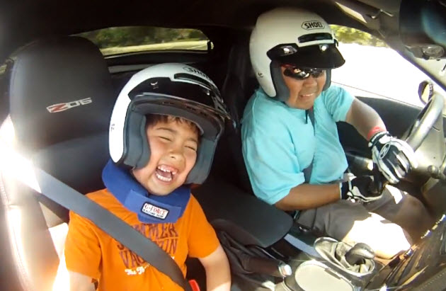 father and son autocross in a z06
