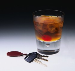 Drinking and driving - cocktail and car keys