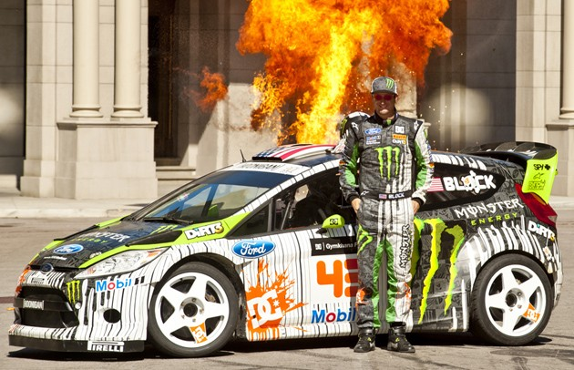 ken block and his 2011 ford fiesta hfhv on the set of gymkhana four