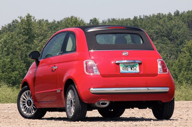 2012 Fiat 500C rear 3/4 view