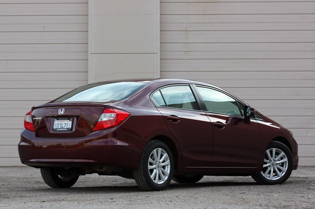 2012 Honda Civic EX Sedan rear 3/4 view