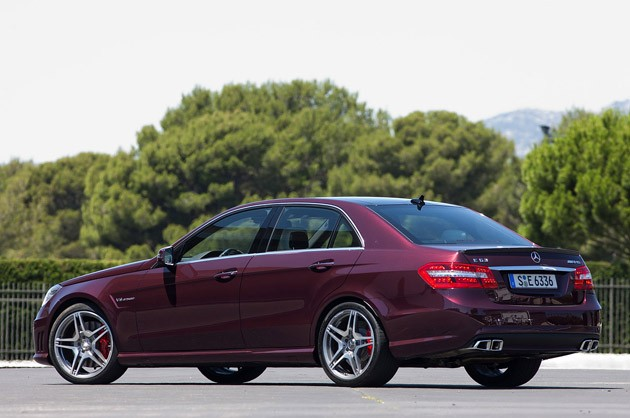 2012 Mercedes-Benz E63 AMG rear 3/4 view
