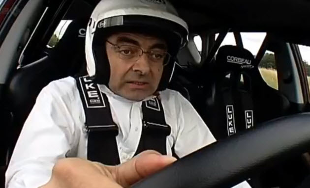 rowan atkinson in the reasonably priced top gear car