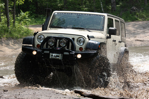 AEV Jeep Wrangler Hemi driving through water