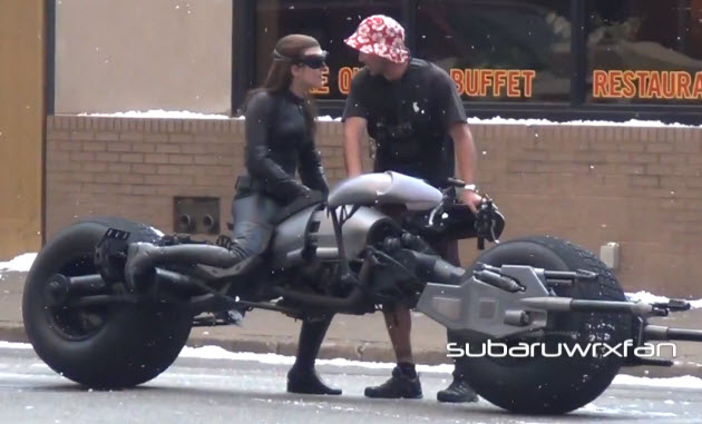 catwoman riding batpod on the set of the dark knight rises