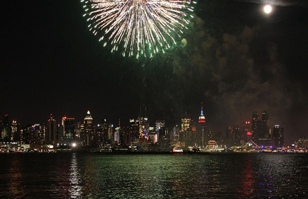 Fireworks over Manhattan viewed from New Jersey