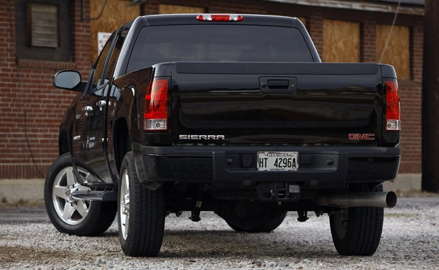 2011 GMC Sierra Denali rear 3/4 view