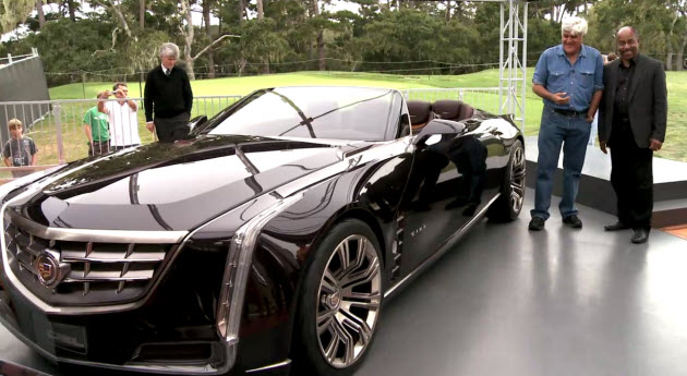 Leno and GM design boss Ed Welburn peruse the Cadillac Ciel concept