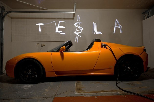 tesla roadster light painting dollar sign