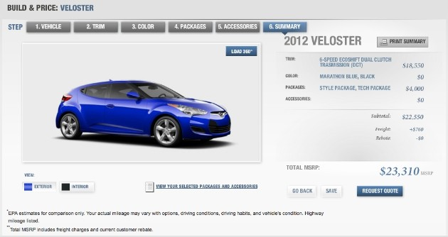 Hyundai Veloster configurator