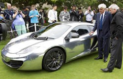 Jay Leno with chrome McLaren MP4-12C