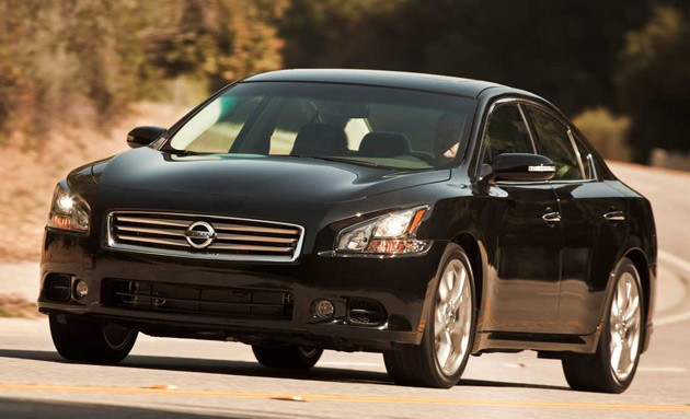 2012 Nissan Maxima - black - front three-quarter dynamic view