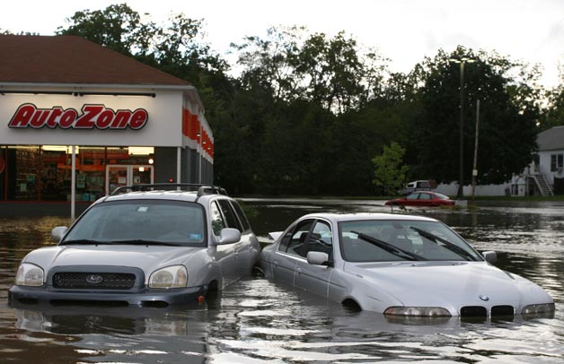 Flood damaged cars at AutoZone