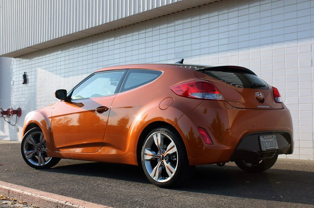 2012 Hyundai Veloster rear 3/4 view