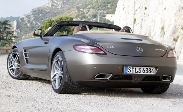 2012 Mercedes-Benz SLS AMG Roadster rear 3/4 view