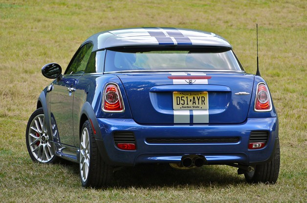 2012 Mini Cooper Coupe rear 3/4 view