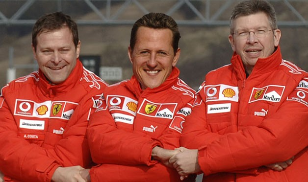 Aldo Costa, Michael Schumacher and Ross Brawn
