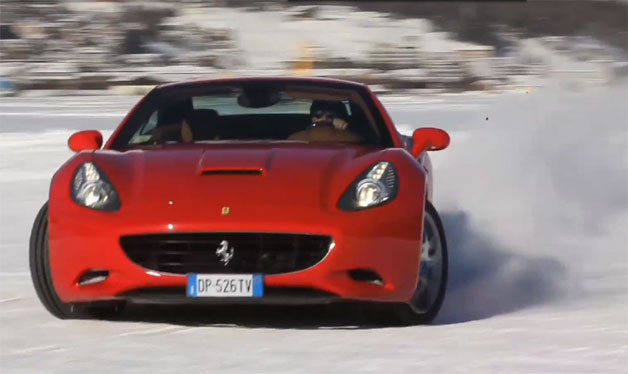 Ferrari California in the snow screen capture
