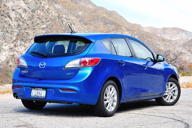 2012 Mazda3 Skyactiv rear 3/4 view
