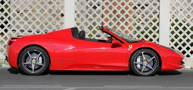 2012 Ferrari 458 Spider side view