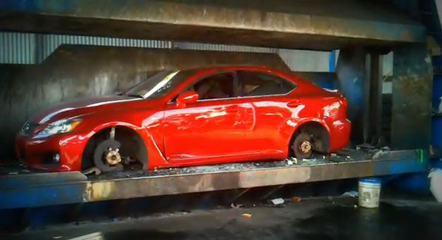 Lexus IS-F gets crushed