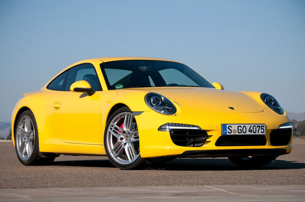 Porsche 911 - yellow - front three-quarter view