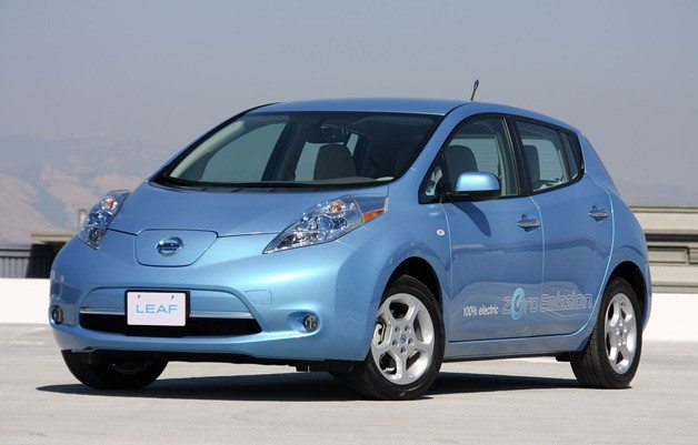 Nissan Leaf - blue - front three-quarter view