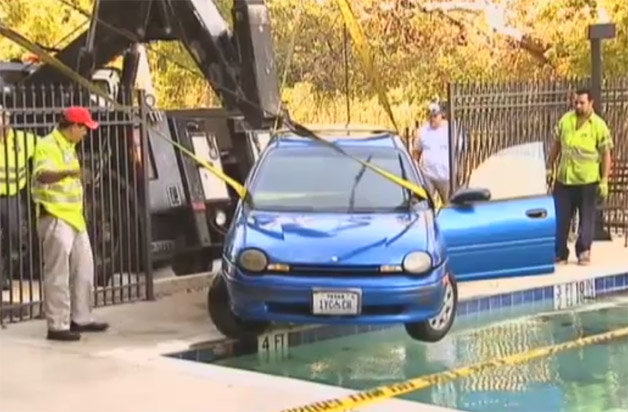 Dodge Neon in a pool
