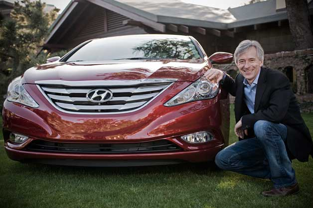 Hyundai CEO John Krafcik with Sonata