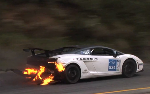 Lamborghini Gallardo on fire at the Targ High Country