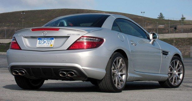 2012 Mercedes-Benz SLK55 AMG rear 3/4 view