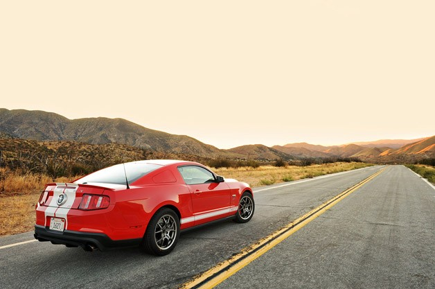2012 Shelby GTS rear 3/4 view