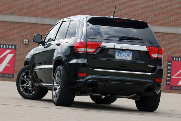 2012 Jeep Grand Cherokee SRT8 rear 3/4 view