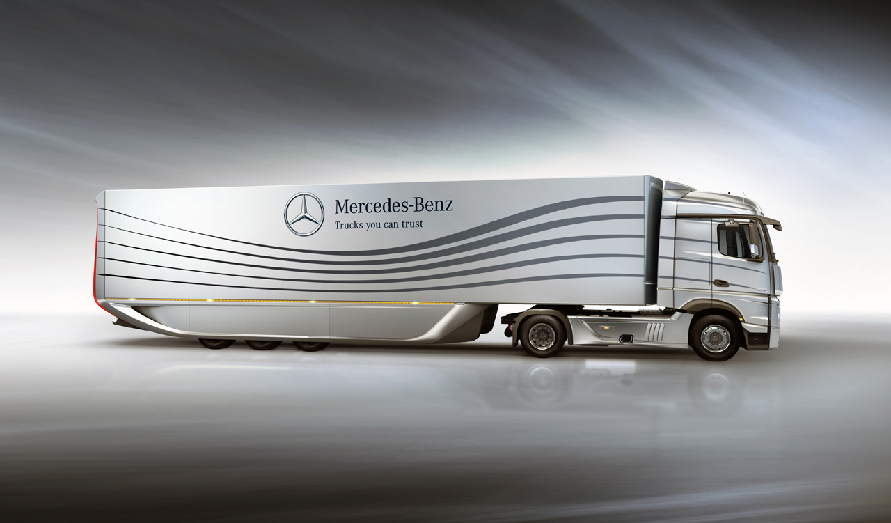 Mercedes creates aero trailer concept to improve big rig for Mercedes benz semi trucks