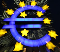 Euro currency symbol illuminated